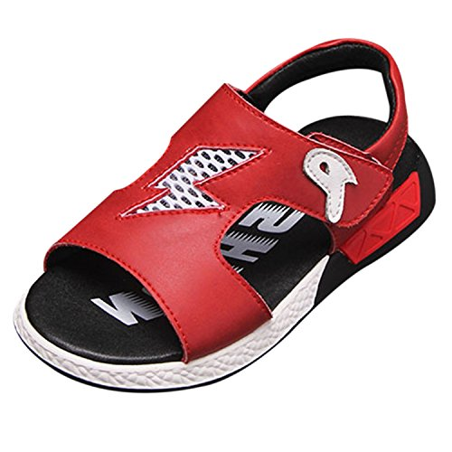 Oasap Boy's Fashion Open Toe Velcro Flat Sandals red