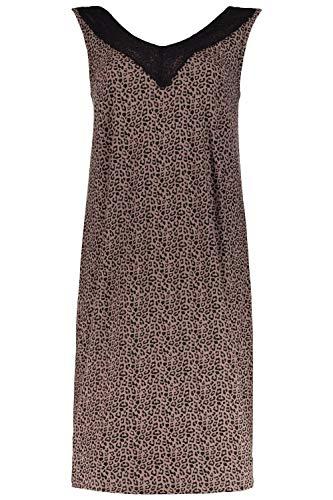 Ulla Popken Damen große Größen bis 60, Nachthemd, ärmellose Passform, Leomuster, V-Ausschnitt, Blickdicht unterlegte Spitze, taupebraun 46/48 719059 90-46+ -
