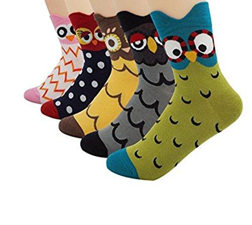 Mujeres Señora Búho Lindo Diseño Calcetines de Algodón, 5 Pares