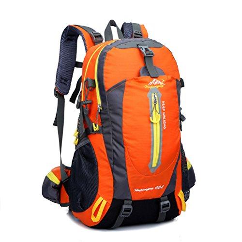 dushow Damen und Herren Outdoor 40L Rucksack Wanderrucksack/Camping Rucksack/Reise Daypack/Casual Pack für Outdoor Klettern, Trekking, Radfahren Orange