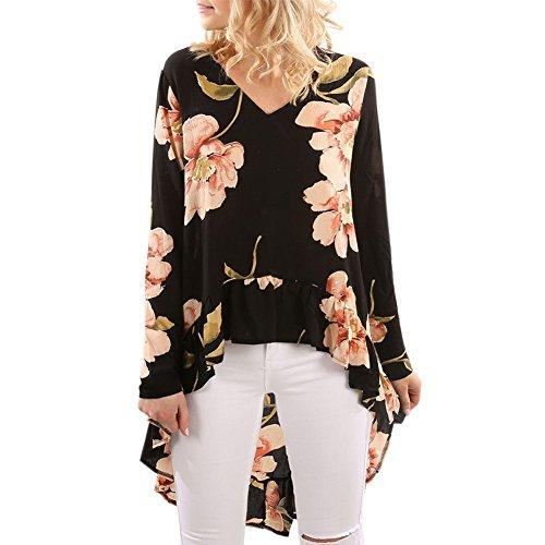 LAEMILIA Damen T-Shirt Long Sleeve Floral Muster Tunika Loose Vorne Kurz Hinten Lang Casual Langarmshirt