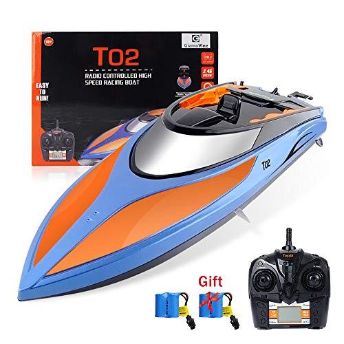 GizmoVine RC Boot High Speed Boot 2,4 GHz 20MPH mit Kapsel Standard Funktion Fernbedienung Spielzeug für Jungen mit Extra Batterie (Blau Orange)
