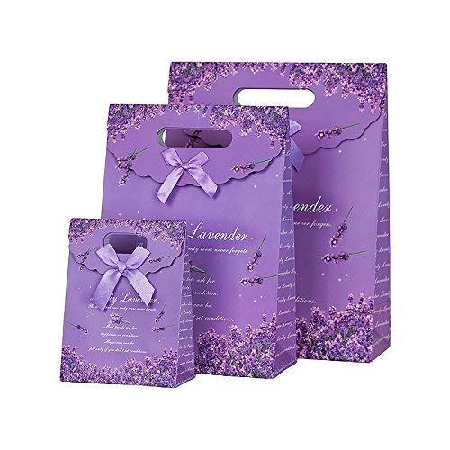 Aibada Geschenktüten aus Kraftpapier, mit Griffen, 12 x 6,3 x 16 cm, Violett