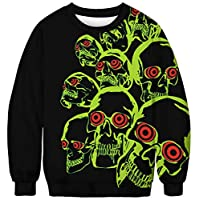 JIAYING Halloween Pullover Sweatshirts 3D Print Novelty Long Sleeve Sweater(L)