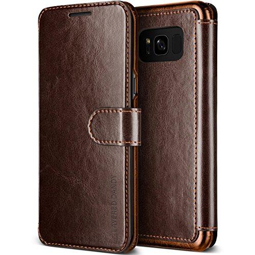 Galaxy S8 Plus Hülle, VRS Design® Leder Schutzhülle [Braun] Schlanke Prämie PU Leder Tasche Stoßsichere Lederhülle Brieftasche Case mit 3 Kartenfach [Layered Dandy] für Samsung Galaxy S8 Plus 2017