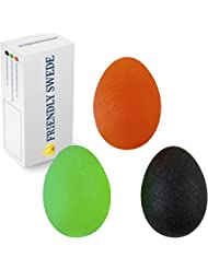 The Friendly Swede Balles Ovales pour l'Exercice et la Rééducation de la Main (3 Pièces avec 3 Niveaux de Résistance) + GARANTIE A VIE