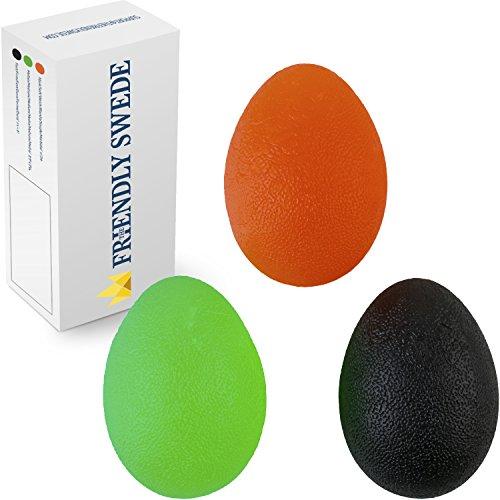 The Friendly Swede 3 Stück Eiförmige Griffbälle - Antistressball, Handtrainer und Fingertrainer mit unterschiedlichen Härtegraden (Groß)
