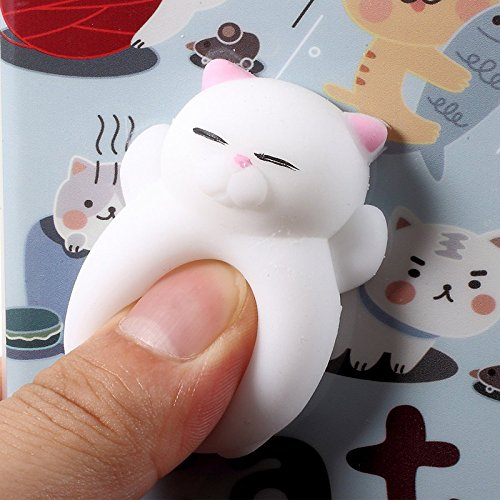 Finger Decompression phone case ,3D Soft Silicone Pinch Squishy Cat TPU Protective Back Cartoon Animal Apple phone Case for iphone 6/6S(4.7-inch) (Lazy Seal) Cats partner
