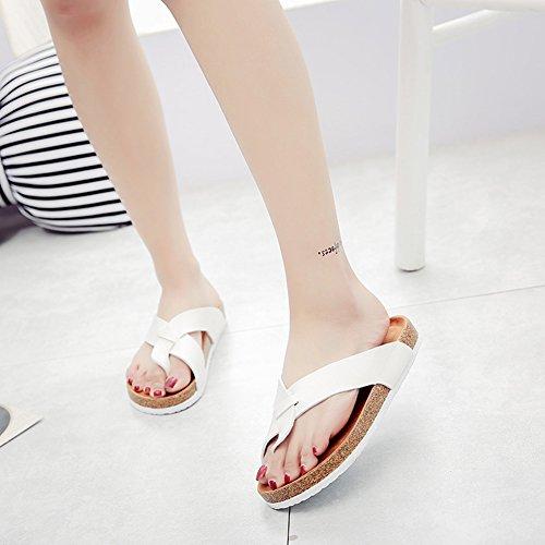 Chaussures de Plage Thongs Sandales Pantoufles d'été Flip Flops Confort Liège - Unisexe Adulte Blanc