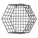 JIA JIA HOME-Wandregal Holz Vintage Hexagon an der Wand befestigte Speicher-Regal-Eisenkorb-Gitter-Gestell-moderne unbedeutende für Eingang / Wohnzimmer / Schlafzimmer, Schwarzes, Multi-size ( größe : S )