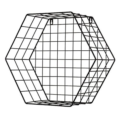 RY-Möbel Modernes Schmiedeeisen-Wandregal, Hexagon-Wand-angebrachtes Speicher-Regal-Eisen-Korb-Gitter-Gestell-Moderner Minimalist für Eingang/Wohnzimmer/Schlafzimmer, Schwarzes, Multi-Size @ Möbel Lagerung Körbe