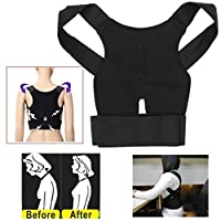Aptoco Adjustable Posture Corrector Back Shoulder Support Magnetic Breathable Belt Brace Band Correction Belt Black for Teenager, Women and Men