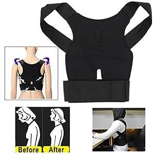 Aptoco Adjustable Posture Corrector Back Shoulder Support Magnetic Breathable Belt Brace Band Correction Belt Black for Teenager, Women and Men