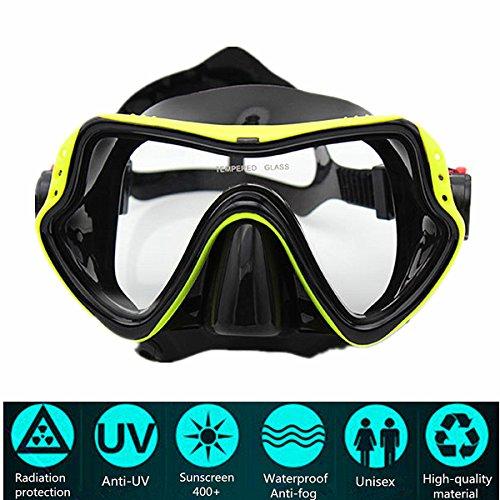 Tauchermaske PLUIESOLEIl Anti-Fog-Beschichtung Wassersport (Gelb)