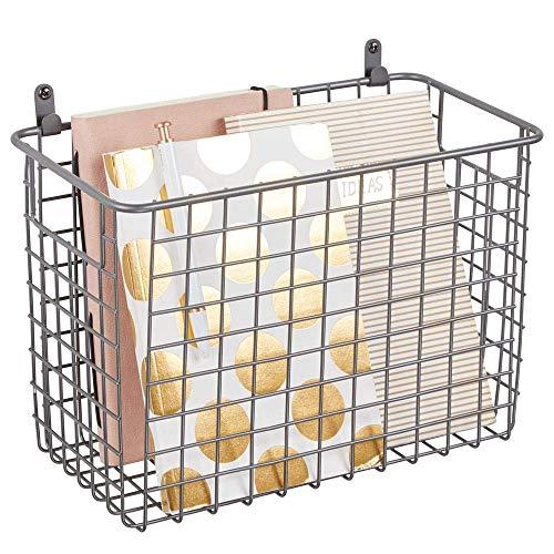 James Fashion Tragbarer Metall-Wand-Organizer mit Griffen zum Aufhängen im Eingangsbereich, Schlamm, Schlafzimmer, Bad, Waschküche, Wandhalterung, Haken, Graphit, 2 Stück -