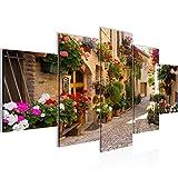 Bilder Mediterran Italien Wandbild 200 x 100 cm Vlies - Leinwand Bild XXL Format Wandbilder Wohnzimmer Wohnung Deko Kunstdrucke Braun 5 Teilig - MADE IN GERMANY - Fertig zum Aufhängen 024751a