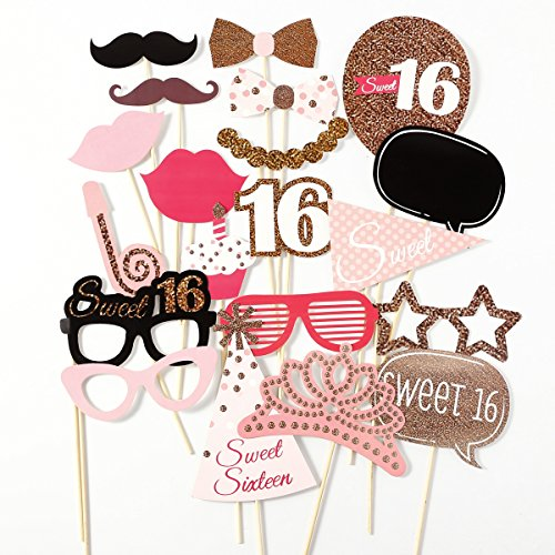 Surepromise 20 x *Sweet 16* 16th Birthday Geburtstag Party Foto Verkleidung Photo Booth Props Schnurrbart Lippen Brille Hüten Fotoautomaten Partymitbringsel (Birthday Party 16th)