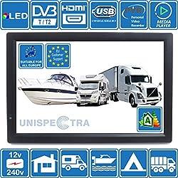 Camping-Car Caravane Bateau Cuisine 12 V 14 Pouces LED Numérique HD TV DVB-T2. TNT HD et Toute l'europe TV. 12V 230V. USB PVR & Lecteur Multimedia, Moniteur CCTV HDMI par Unispectra®