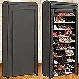 IDMarket - Étagère range chaussures 30 paires ECO avec housse grise