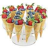 Porta coni per cupcake, con 16 fori, per gelato, cupcake, sushi, per feste di compleanno e tè pomeridiani, Transparent, Taglia libera