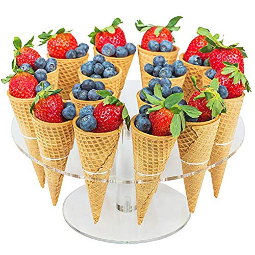 Cupcake Cones Baking Rack,16 Hole Ice Cream Cone Cupcakes Holder Sushi Hand Roll Display Stand Holder for Kids Birthday Afternoon Tea Party(Transparent)