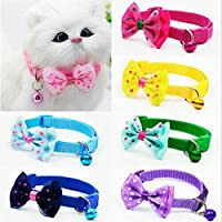 COZY PUPPIES Dog Cat Pet Bowknot Cute Bow Tie Bell Adjustable Puppy Kitten Necktie Collar ( Buy 1 Get 1 Free ) Color May…