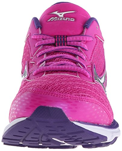 Mizuno Wave Rider 19 Synthétique Baskets Fuchsia-Purple-Silver