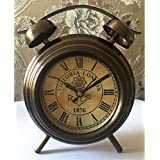 Antique Gifts Vintage Victoria London 1876 Bell Design Type Table Clock Brown Iron Double Top-wheel Design Classic Look
