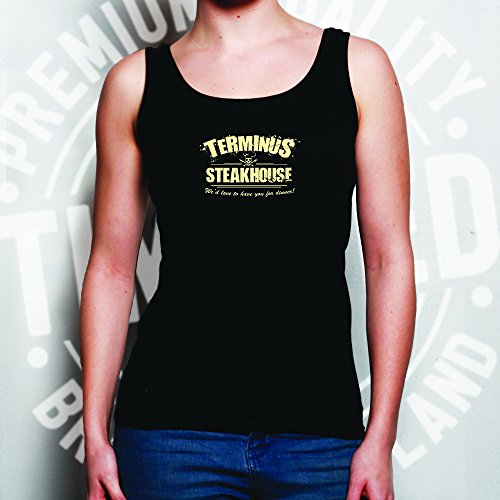 Terminus Steakhouse Walking Dead Geeky Nerdy Disegno Stampato Maglia delle Donne Pink