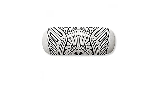 Indian Abstract Line Drawing Totem Pole Face Glasses Case Eyeglasses Clam Shell Holder Storage Box