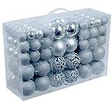 100 Stück Set Weihnachtsbaumkugeln Christbaumkugeln inklusive Aufbewahrungsbox matt, glänzend, glitzernd, motiv Ø3/4/6cm (Silber)