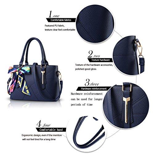 Tisdaini Borse del sacchetto del messaggero della spalla della borsa di modo dell'unità di elaborazione di modo della borsa delle signore blu