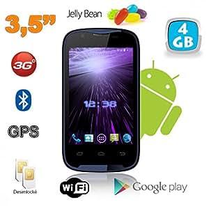 Smartphone Android 3.5 pouces 3G WiFi GPS Dual SIM Noir Bleu 4 Go