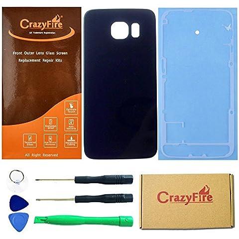 CrazyFire® Blu Cornice lente in vetro porta Cover Posteriore di Ricambio per Samsung Galaxy S6G920G920A G920P G920T G920F G920V G920R4 - Porta Posteriore