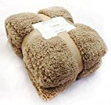 New Large 130 x 180cms Teddy Soft Cuddly Fluffy Caramel / Latte Plain Throw Bed / Sofa Throwover Blanket