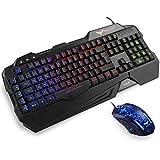 HAVIT Gaming Tastatur und Maus Set, LED Hintergrundbeleuchtung QWERTZ (DE-Layout), 7 Tasten Gaming Maus mit 4 LEDs als Beleuchtung (800 / 1200 / 1600 / 2400 DPI einstellbar)