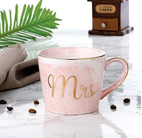 YBK Tech Euro Style Art Bone China Keramik Tee Kaffee Tasse für Frühstück Home Kitchen (Marmor Muster) Rose (Tee Rose-muster)