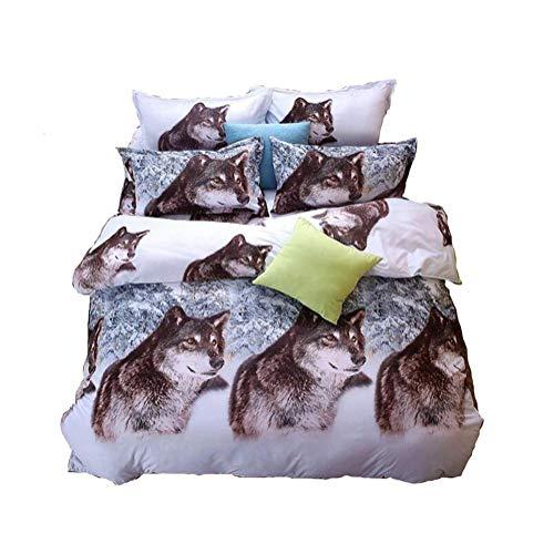 43D Snow Wolf Betten-Set Polyester Tröster Sets Prints Bettbezug Set QUEEN SIZE (1Stück Bed Sheet/1Stück Tröster/2PCS Kissen Abdeckungen) (Sheet Set Queen Tier)