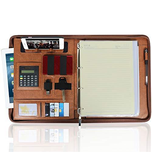 Damen-portfolio (SEA oder STAR Portfolio-Organizer aus PU-Leder mit Reißverschluss und Handy-Halter, Schreibblockhalter, mehrere Taschen für Damen und Herren)