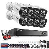 ANNKE Überwachungskamera System, 8CH 1080P 5 in 1 HD DVR Recorder + 8*1080P Bullet Überwachungskameras, Bewegungserkennung, Smart Search/Playbac(mit 2TB HDD)