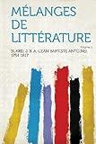 Cover of: Melanges de Litterature Volume 1 |