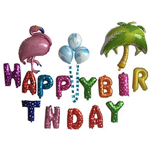 BESTOYARD Flamingo Foil Balloons Helium Mylar Balloon Hawaiano Luau Tropical Party Decoraciones
