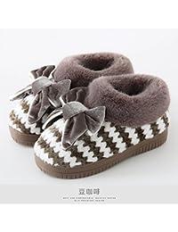 LaxBaMesdames Accueil Marbre Chaussons doux semelle d'Cotton-Padded Shoesblack agréable 260 = 37-38 Plus