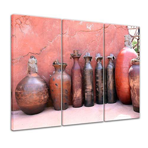 Wandbild - mediterrane Tongefäße - Bild auf Leinwand 120 x 80 cm 3tlg - Leinwandbilder Bilder als Leinwanddruck Städte & Kulturen Mittelmeer - Amphoren und Krüge
