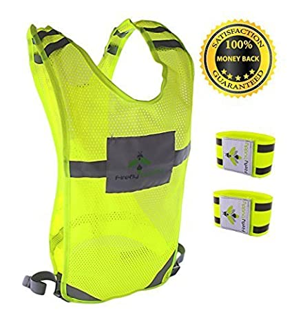 Reflective vest for Running Road Cycling Dog Walking, High Visibility Bike Reflector, Adjustable Safety Gear w/ Bands and Pocket for Men & Women