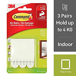 Command Medium Picture Hanging Strip, Holds 5.4 kg, No Drilling, Holds Strong, No Wall Damage (White, 4 Pairs)