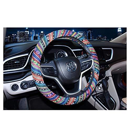 Coprivolante automobilistico in tessuto di lino grezzo di grandi dimensioni stile etnico coperchio del volante in alluminio antiscivolo e assorbimento del sudore (15.25 '' - 16 '') (color : 2)