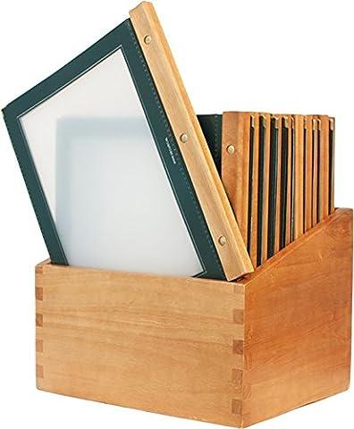 Securit Wood Protège-Menu de restaurant avec 20 protèges-cartes de restaurant A4 à pochette double Vert