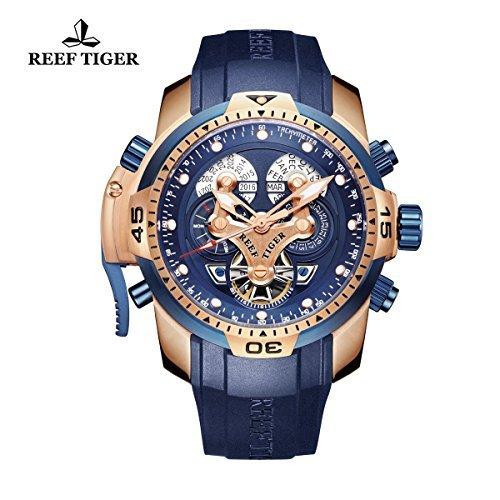 REEF TIGER Herren Uhr analog Automatik mit Kautschuk Armband RGA3503-PLBB