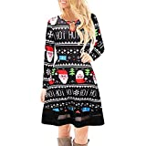YWLINK Damen Elegant Weihnachten Karikatur Gedruckt Spitzenkleid Damen Langarm Minikleid(S,Schwarz c)